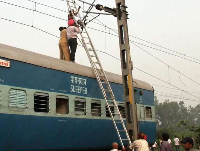 Repair work on after the derailment of Jhelum Express near Panj Dhera village of Phillaur at the banks of river Sutlej  in Ludhiana on Tuesday.