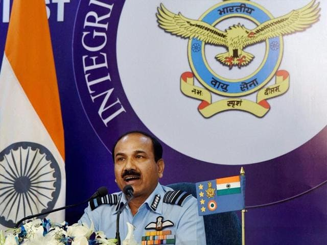 Air Chief Marshal Arup Raha addresses the annual press conference ahead of Air Force Day function in New Delhi on Tuesday.