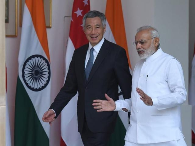 Prime Minister Narendra Modi with Prime Minister of Singapore Lee Hsien Loong prior to a meeting in New Delhi.