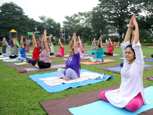 Neighbours bonding over yoga in Sector 12, Panchkula, during a session on Monday.