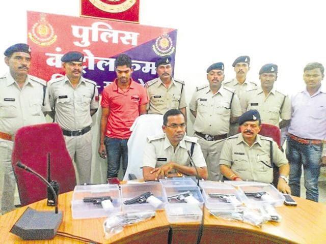 Guns seized in Khargone district last month.