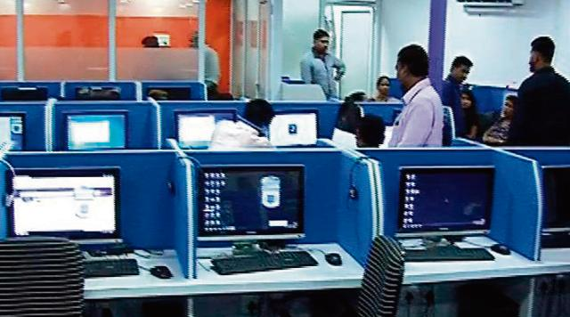 One of the three call centres raided in Mira Road.