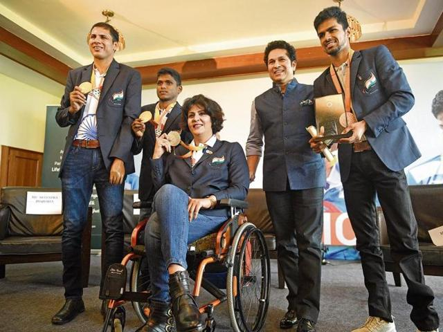 Deepa Malik (centre) was in Mumbai to attend a programme with Sachin Tendulkar (2nd from right) on Tuesday along with other Rio Paralympics medal winners.