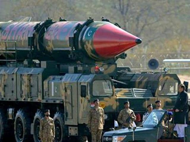 A Pakistani missile capable of carrying nuclear arms on display during a parade. (AFP File Photo)