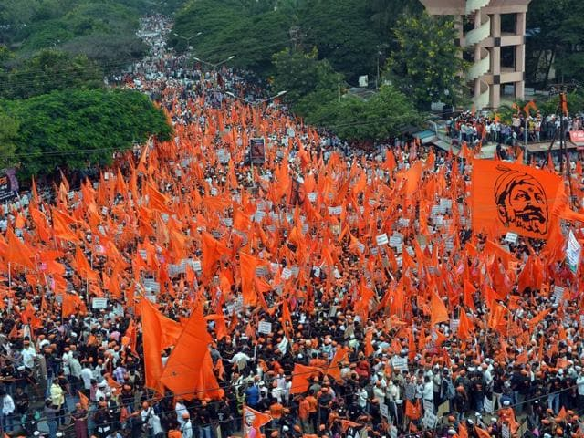 Maratha community members at a protest rally demanding reservation, and justice for Kopardi rape victim, in September.