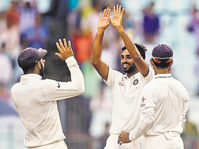 Bhuvneshwar Kumar claimed five for 48 in the first innings of the Kolkata Test.