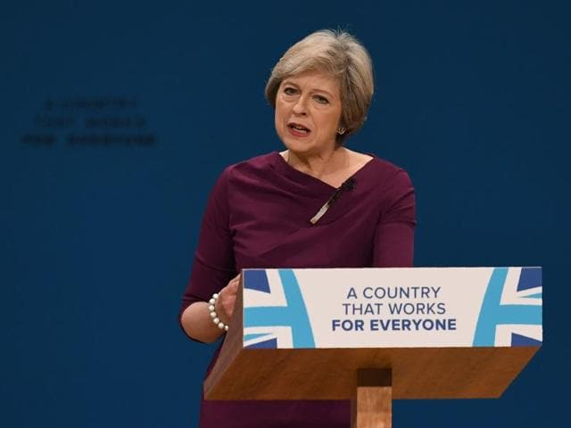 British Prime Minister Theresa May delivers a keynote address on the final day of the annual Conservative Party conference in Birmingham on Wednesday.