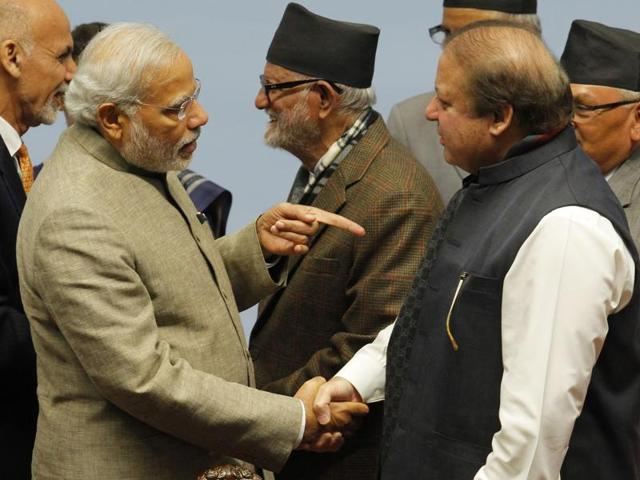 This file photo shows Prime Minister Narendra Modi meeting Pakistan's Prime Minister Nawaz Sharif during the closing session of the 18th SAARC summit at City Hall in the Nepalese capital Kathmandu.