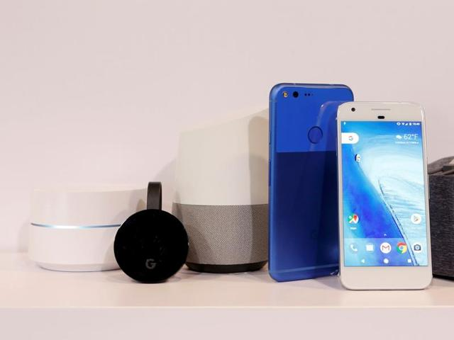 (L to R) Google Wifi, Google Chromecast Ultra, Google Home, Google Pixel XL, Google Pixel and Google Dreamview VR are displayed during the presentation of new Google hardware in San Francisco.
