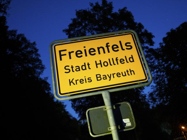 The town sign of Freienfels near Bayreuth, southern Germany, where a 43 years-old man was found living in isolation for decades.