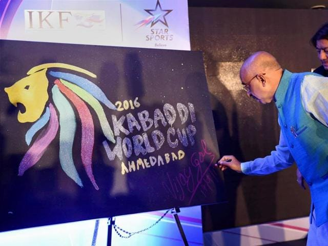 Union Sports Minister Vijay Goel at the unveiling of the official logo of Kabaddi World Cup 2016.