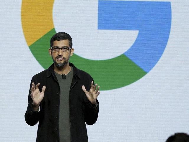 Google CEO Sundar Pichai speaks during a product event, Tuesday.