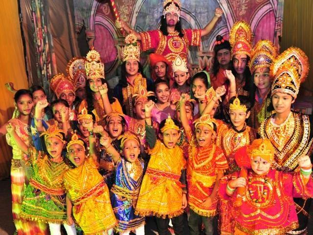 The cast of all-kid Ramlila at Sector 68 in SAS Nagar on Tuesday.