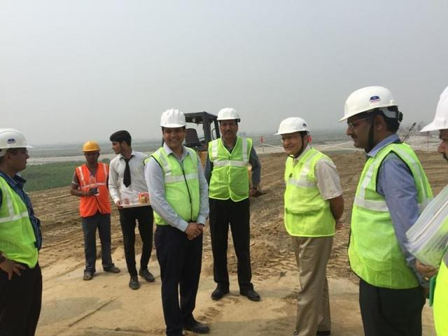 NHAI chairman Raghav Chandra reviews the progress of Eastern Peripheral Expressway on Tuesday.