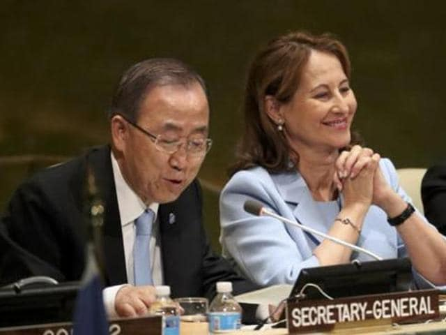 """French minister for environment Segolene Royal (centre) looks on as UN secretary general Ban Ki-moon (left) concludes a """"high-level event on entry into force of the Paris agreement on climate change"""" meeting at United Nations headquarters in New York in September."""