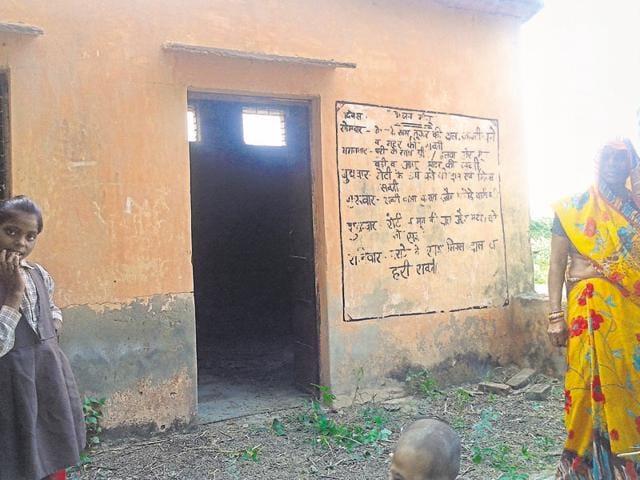 Cattle graze at the primary school at Khervaray Ka Pura-Sangoli village in Morena.