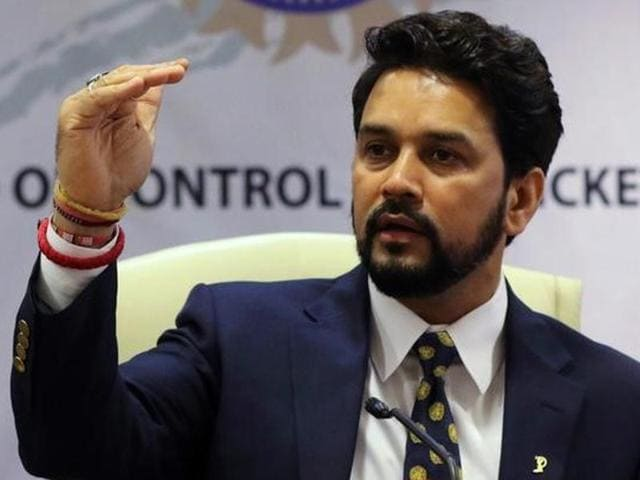 BCCI President Anurag Thakur along with BCCI secretary Ajay Shirke intracts with media.
