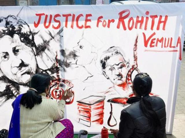 Artistes from Moradabad pay tributes to Rohith Vemula, the research scholar, who committed suicide at the Hyderabad Central University campus.