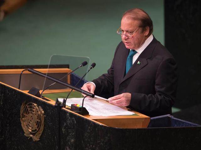 Prime Minister Nawaz Sharif of Pakistan waits to address the United Nations General Assembly in the Manhattan borough of New York, US.