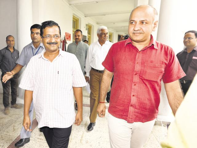 New Delhi, India - September 30, 2016: Delhi Chief Minister Arvind Kejriwal and deputy Chief Minister Manish Sisodia arrive for the Delhi Assembly special session in New Delhi, India on Friday. September 30, 2016. (Photo by Sonu Mehta/Hindustan Times)