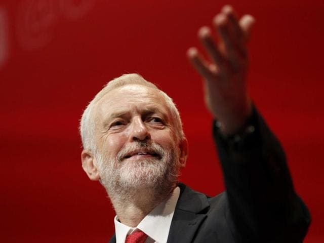 The leader of Britain's opposition Labour Party, Jeremy Corbyn, reacts after the announcement of his victory in the party's leadership election in Liverpool on September 24, 2016.