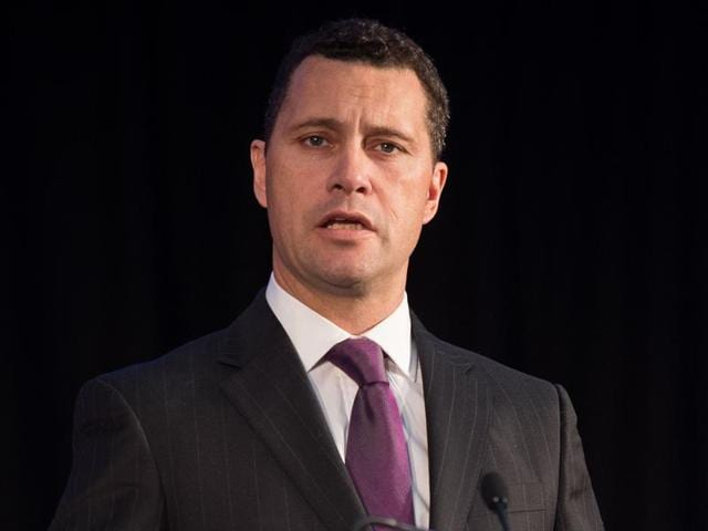 (FILES) This file photo taken on March 04, 2015 shows United Kingdom Independence Party (UKIP) Migration spokesman Steven Woolfe addressing supporters and media personnel in central London as the party unveils its policy on immigration. The favourite to lead the anti-EU UK Independence Party, Steven Woolfe, was in a