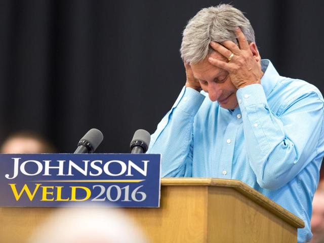 """File photo of Libertarian presidential candidate Gary Johnson speaking at a campaign rally in Iowa. Johnson had another self-described """"Aleppo moment"""" after he couldn't come up with a name when asked by a MSNBC host who his favourite foreign leader is."""