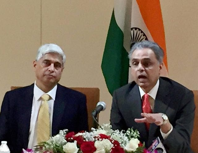 Ministry of external affairs spokesperson Vikas Swarup and India's permanent representative in the UN, Syed Akbaruddin, right, address a press conference.