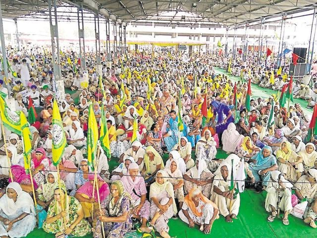 Farmers' unions holding protest in Moga on Wednesday.