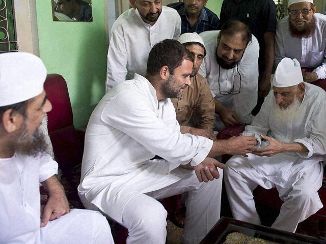 Congress vice-president Rahul Gandhi meeting Muslims during his Kisan Yatra in Saharanpur.