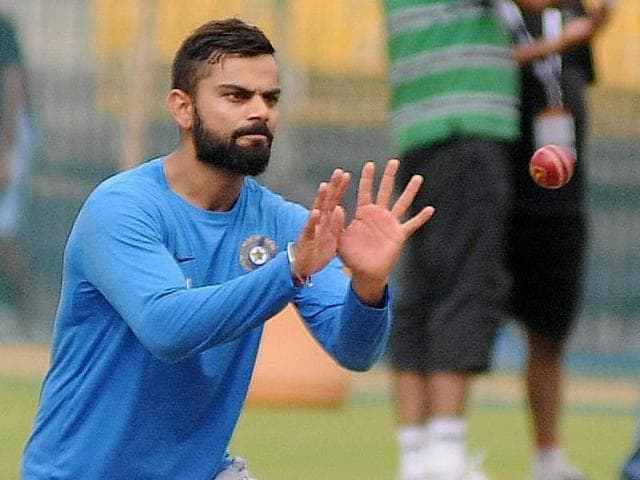 Indian cricket team captain Virat Kohli during a practice session in Indore.