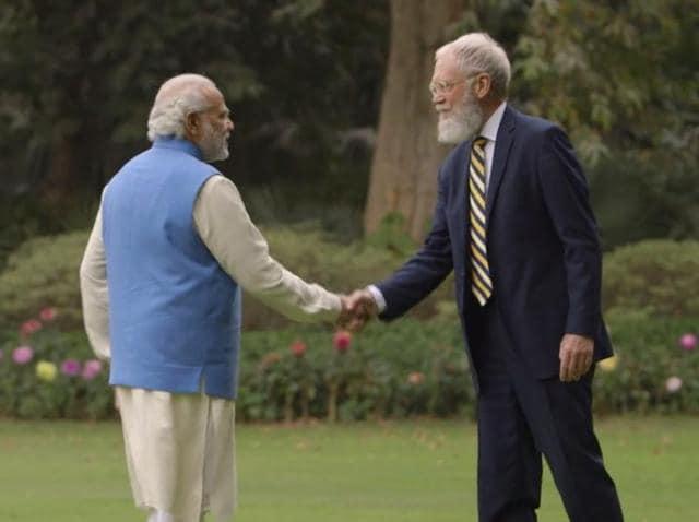 Screengrab of TV show host David Letterman with Prime Minister Narendra Modi in New Delhi.