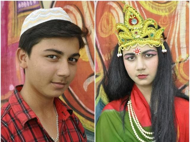 Miraz Malik, 17, before make-up, and then (right) after he is ready for performance as Sita.(Sant Arora/HT Photos)