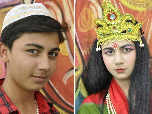 Miraz Malik, 17, before make-up, and then (right) after he is ready for performance as Sita.