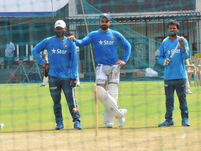 Indian players during practice at Holkar Stadium ahead of third and last Test match against New Zealand.