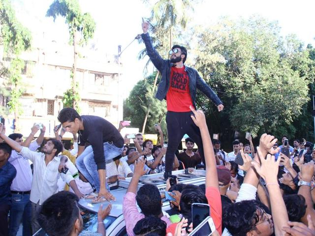 Ranveer Singh at the launch of a rap music video, Don't Hold Back, in Mumbai