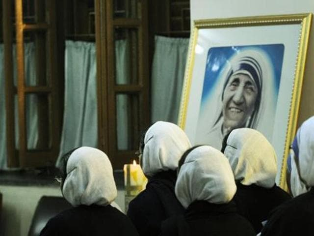 File photo of sisters in morning prayer on the occasion of Mother Teresa's 106th birth anniversary at MoC headquarters in Kolkata on August 26, 2016.