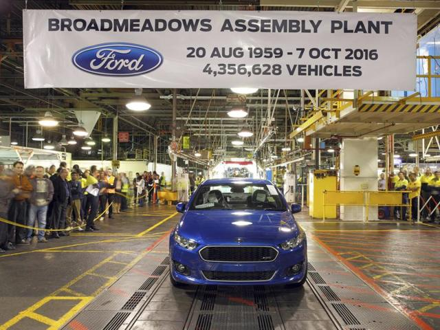 In this hand out photo supplied by Ford Motor Co. Australia, the world's last six-cylinder, rear-wheel drive Falcon XR6 rolls off the assembly line at Ford Motor's Broadmeadows plant in Melbourne of Australia on Friday. Ford ended 91 years of car manufacturing in Australia with 600 employees loosing their jobs.
