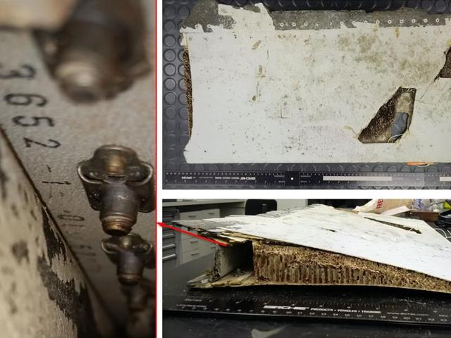 An undated combo photo handout received on Friday  shows a trailing edge section of Boeing 777 left, outboard flap, originating from the Malaysian Airlines aircraft registered 9M-MRO (MH370).