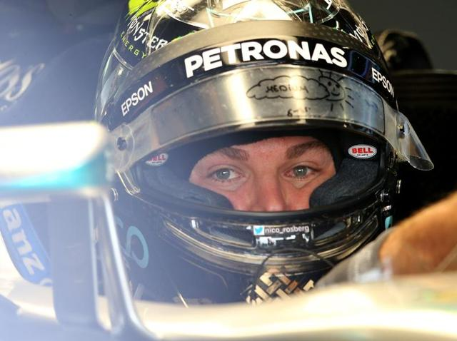 Mercedes' driver Nico Rosberg of Germany in action during second practice.