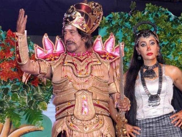 Sofia Hayat plays Soorpanakha while Shakti Kapoor plays Khar during a Ramleela being staged in Delhi.