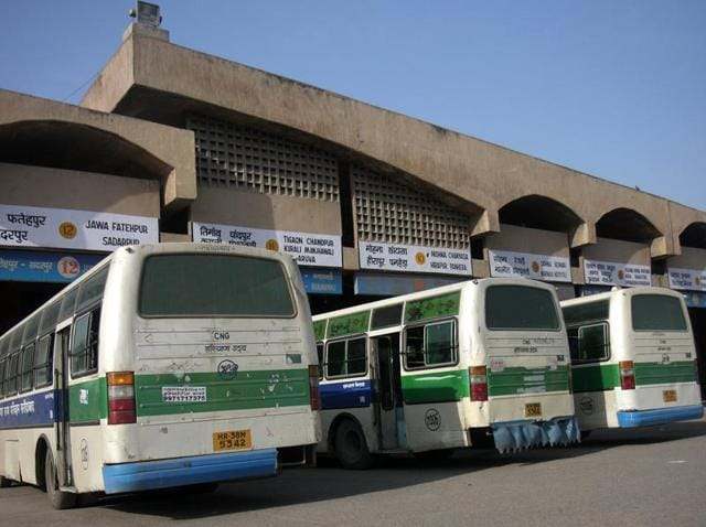 CNG buses of Haryana roadways at Ballabgarh bus terminal in Faridabad .