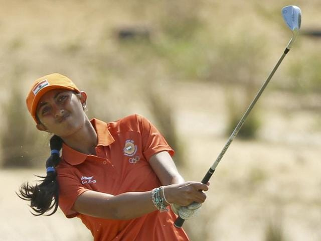 Aditi Ashok was still two-under and tied 10th, though some players were yet to finish.