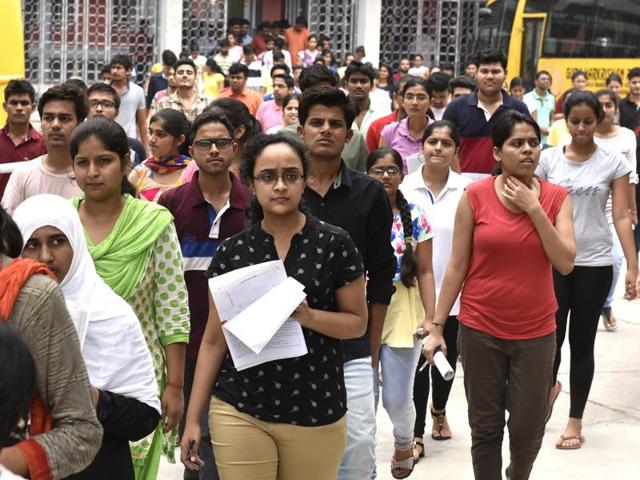New Delhi, India - July 24, 2016: Students leave the campus of Guru Harkrishan Public school at Vasant Vihar after appearing for Neet 2, All India Pre Medical entrance exam, in New Delhi, India, on Sunday , July 24, 2016. (Photo by Arvind Yadav / Hindustan Times)
