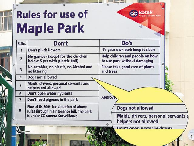 The board installed by the Mapple Heights condominium association (MHCA) in Sushant Lok-1 has turned controversial.