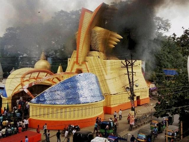A view of the RR Sporting Durga Puja pandal, which caught fire in Ranchi.