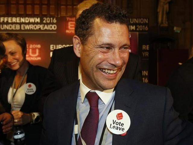 Steven Woolfe of the United Kingdom Independence Party (UKIP) smiles as votes are counted for the EU referendum in Manchester, Britain on June 24, 2016.
