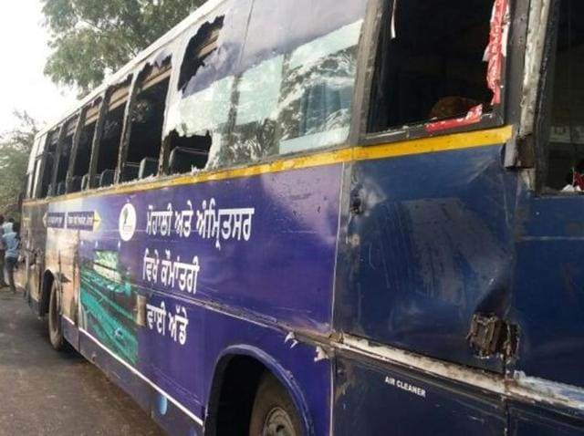 The Punjab Roadways bus that met with an accident near Dhuri in Sangrur on Friday.