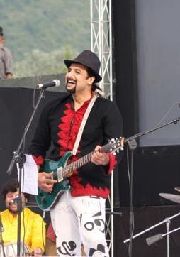 Salman Ahmad (left) at one of his performances