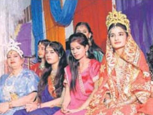 Female artistes performing in a Ramlila at Jourian Bhattian in Patiala on Friday.